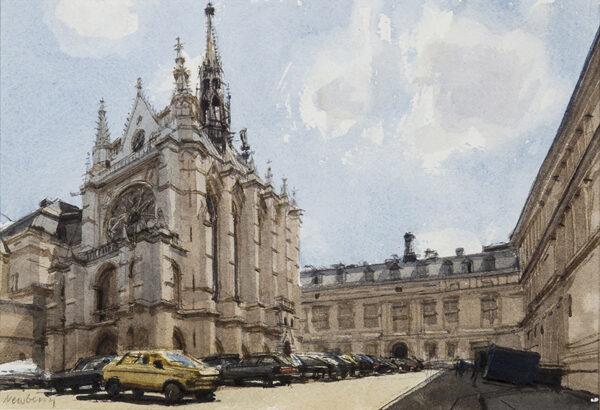 NEWBERRY John R.W.S. (b.1934) - Paris 'Cars around la Sainte Chapelle'.