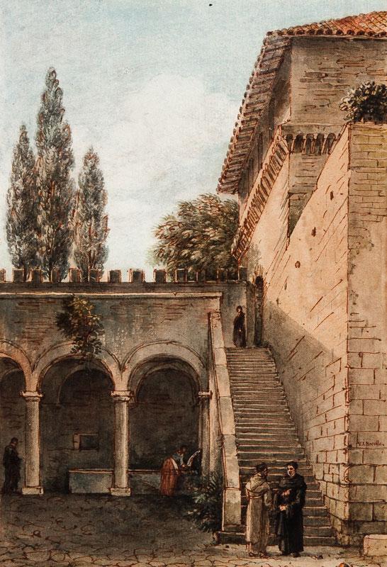NICOLLE Victor Jean (1754-1826) - Grottaferrata: the courtyard of the Monastery.