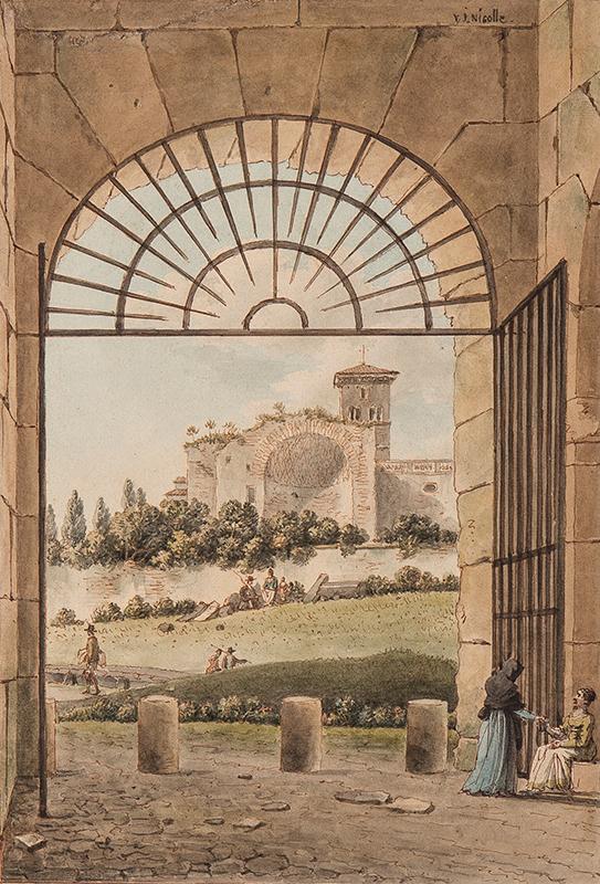 NICOLLE Victor-Jean (1754-1826) - Rome: The Temple of Venus and Roma (Forum), with the campanile of Santa Francesca Romana.