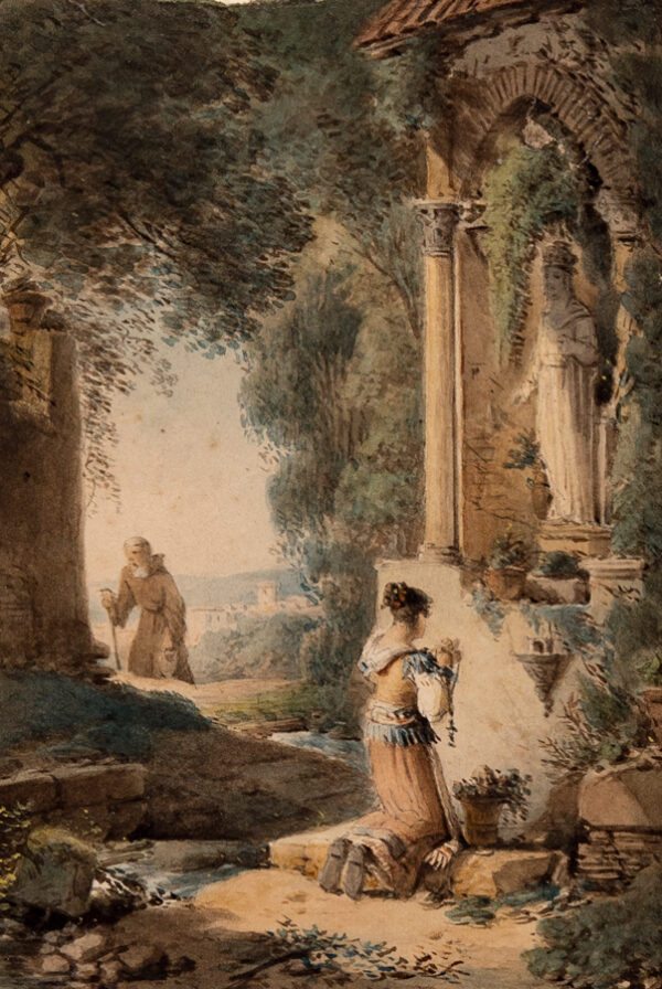 NICOLLE Victor-Jean (1754-1826) (circle of) - Girl at a wayside Calvary.