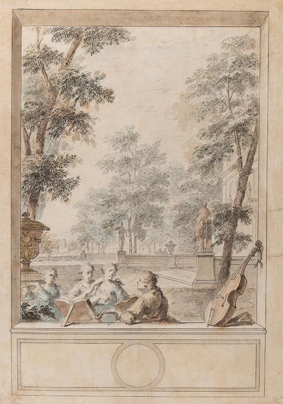NIJMEGAN Dionys van (1705-1798) - Musicians in an architectural cartouche.