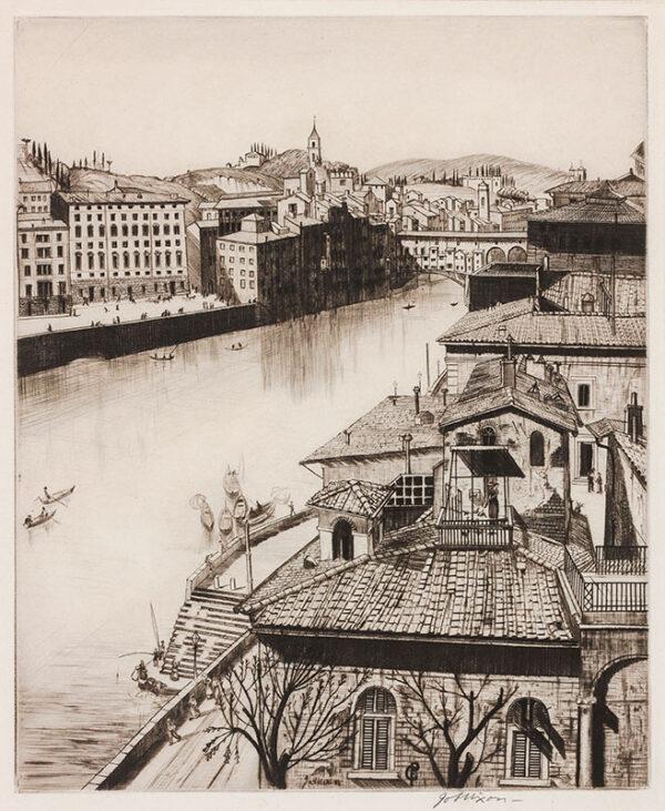 NIXON Job A.R.E. (1891-1938) - On the Arno, Florence.