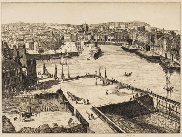 NIXON Job (1891-1938) - 'Dieppe Harbour'.