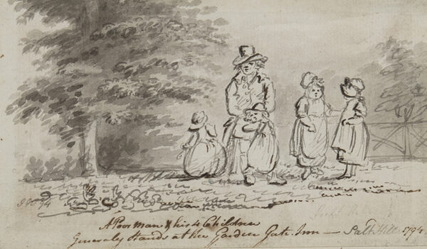 NIXON John (1750-1818) - 'A Poor Man and his 4 children / generally stands at the Garden Gate Inn.