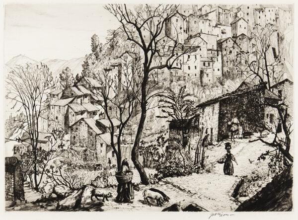 NIXON Job (1891-1938) - 'An Italian Hill Town', Anticoli Corrado.