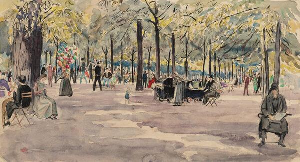 NIXON Job R.W.S. R.E. (1891-1938) - 'The Tuileries Gardens, Paris'.