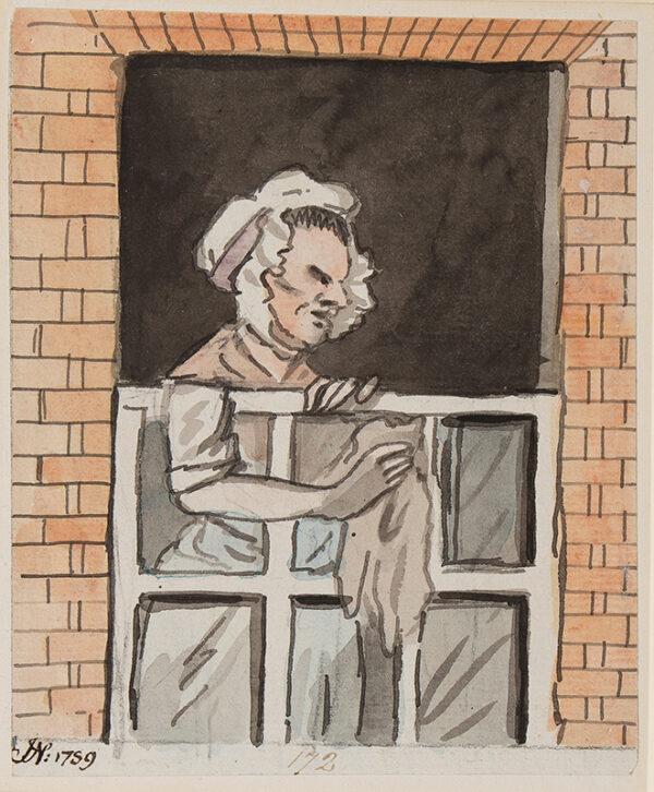 NIXON John (c.1755-1818) - Maid cleaning window.