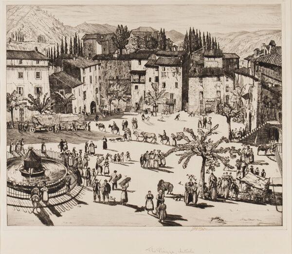 NIXON Job (1891-1938) - 'The Piazza, Anticoli'.