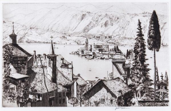 NIXON Job R.E. (1891-1938) - 'Isola San Giulio, Lago di Orta'.