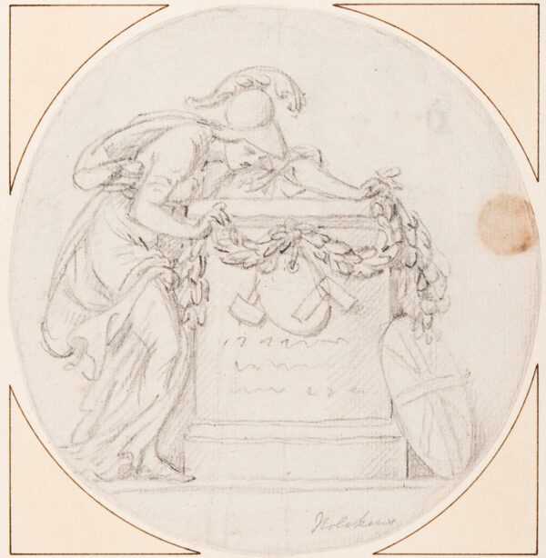 NOLLEKENS Joseph R.A. (1737-1823) - Study for a Monument, with Britannia draping a cenotaph or tomb decorated with artist's palette, mallet and set square.