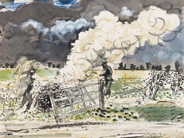 O'CONNOR John (1913-2004) - Bonfire and Storm Clouds, Essex.