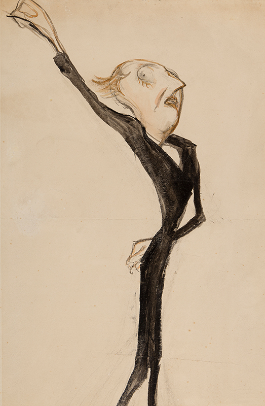 OSPOVAT Henry (1877-1909) - A theatrical figure, possibly 'Sir Beerbohm Tree' Brush, watercolour and ink.