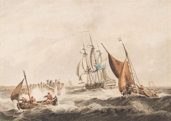 OWEN Samuel (1768-1857) - Shipping off a pier.