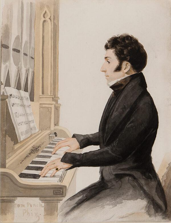 PHIZ (Halbot Knight Browne) (1815-1882) - 'Tom Pinch' playing the Salisbury organ (Dickens, 'Martin Chuzzlewit').