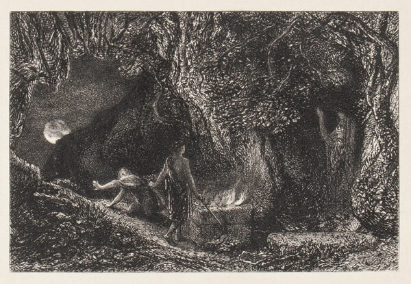 PALMER Samuel (1805-1881) - The Sepulchre (Lister 16) (1880-83) Etching printed for 'An English Version of the Eclogues of Virgil' (1883) 4x6 inches.