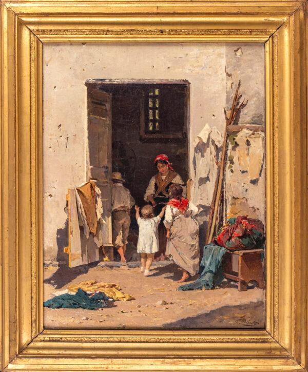 PELUSO Francesco (1836-1916) - A Neapolitan scene.