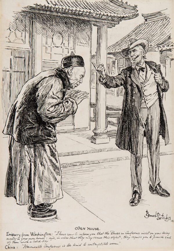 PARTRIDGE Bernard (1861-1945) - Uncle Sam patronising China… Pen and ink for 'Punch'.