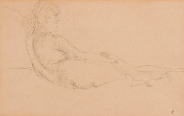PASMORE Victor C.H. C.B.E. (1908-1998) - 'Nude'; study of the artist's wife, Wendy, for 'Studio of Ingres', oil (1945-1947).