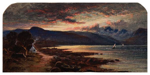 PATON Waller Hugh R.S.A. R.S.W. (1828-1895) - A Scottish loch at dusk.