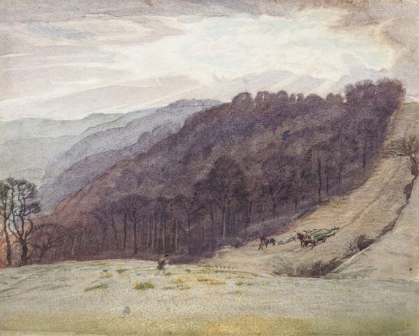 PAYNE Henry R.W.S. (1868-1940) - 'Uley Camp, Gloucestershire – a late October evening'.