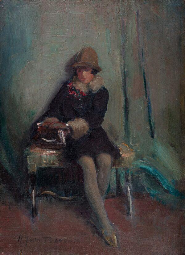PEARSON Harry John R.B.A (1872-1933) - 'Ready for the Car'.