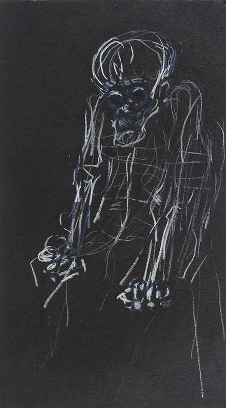 PELL Cynthia (1933-1977) - 'Old Person with Scull Head'.
