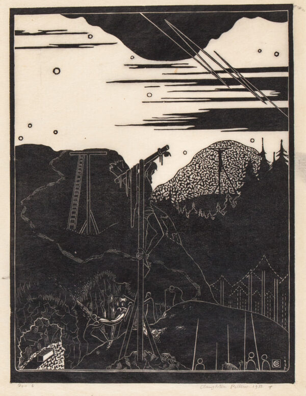 PELLEW Claughton (1890-1966) - 'The Burial' (AS 1) Wood engraving.