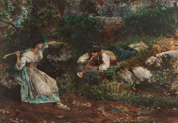 PENNACCHINI Domenico (1860-1917) - An Italian Contadina wooe'd by a Shepherd.