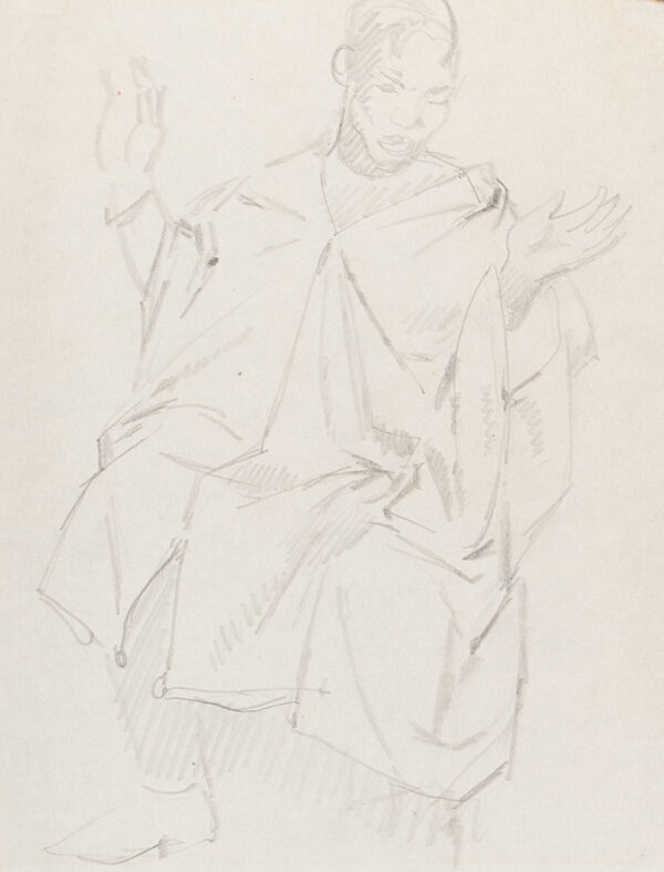 PHILPOT Glyn R.A. (1884-1937) - Study for 'Negro thinking of Heaven' (Brighton and Hove Museums and Art Galleries) Pencil on sketchbook page.