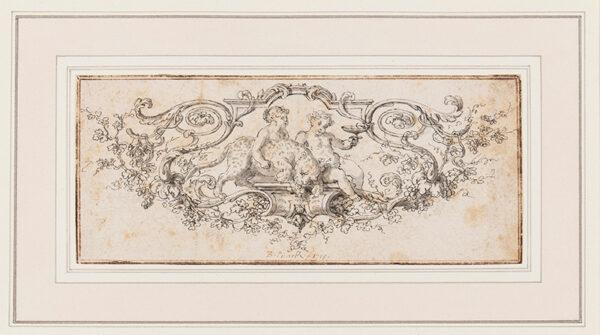 PICART Bernard (1673-1733) - Putti and leopard in a cartouche.