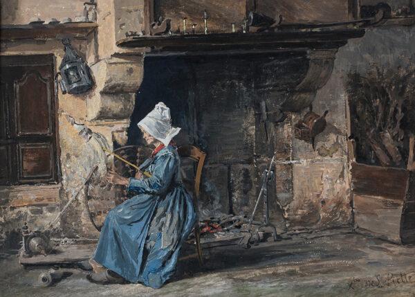PIETTE-MONTFOUCAULT Ludovic (1826-1877) - The Spinner.