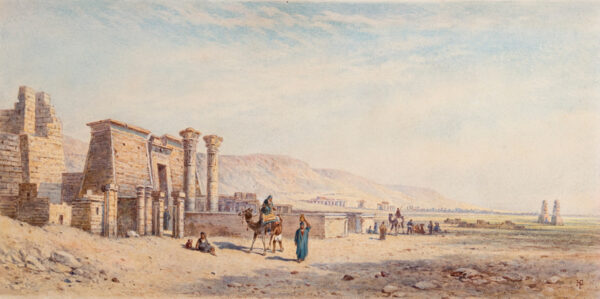 PILLEAU Henry (1813-1899) - 'The Plain of Thebes, with Medinet Abu, Temple of Gournon and the two Colossi' Watercolour.