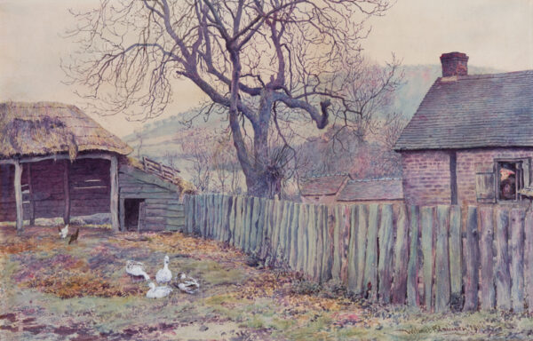PILSBURY Wilmot (1840-1908) - A stockyard at dusk.