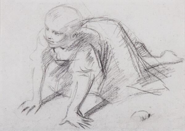 PINWELL George (1842-1875) - Study of a crawling child.