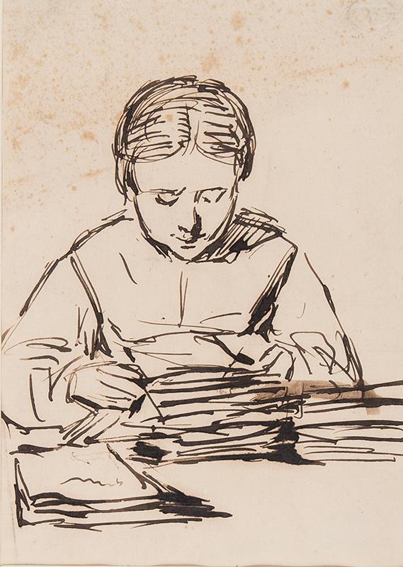 PINWELL George Joseph R.W.S. (1842-1875) - Woman at her desk.