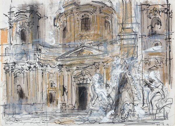 PIPER John CH (1903-1992) - Rome: San'Agnese and the Bernini Fountain.