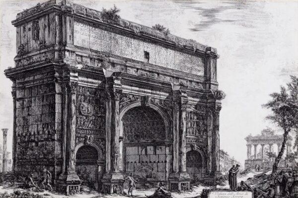 PIRANESI Giovanni (1720-1778) - 'Veduta dell'Arco di Settimio Severo' Etching from 'Vedute di Roma',1772.