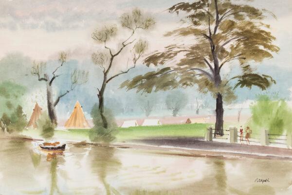 PITCHFORTH Roland Vivian R.A. (1895-1982) - Riverside camp.