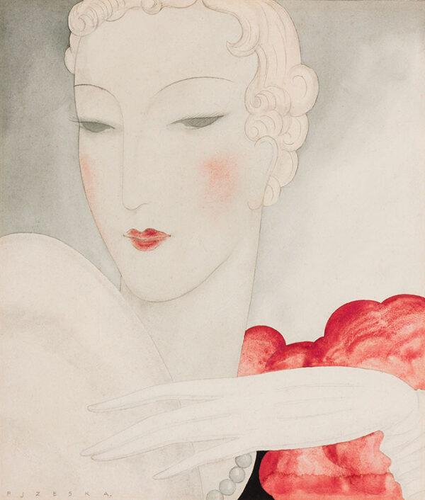 'PJZESKA' (Middle European/Parisian) Fl: 1920s/30s - An Evening Glove.