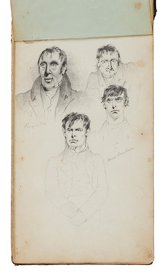 PLATT S. Circa 1830. - 'Western Circuit / Characters / not / Caricatures / sketches taken from life principally in Court on the Western Circuit' Sketchbook with approx.