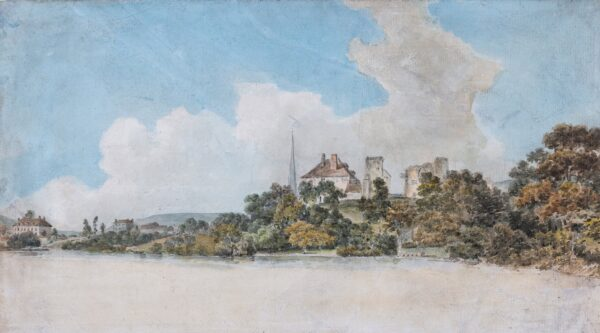 POCOCK Nicholas (1740-1821) - 'Monmouth with the remains of the Castle in which Henry V was born'.