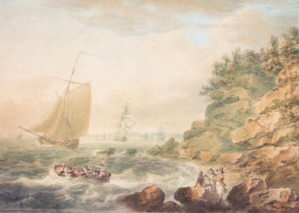 POCOCK Nicholas (1740-1821) - Portishead, near Bristol: three old sailors watching boats cutting about.