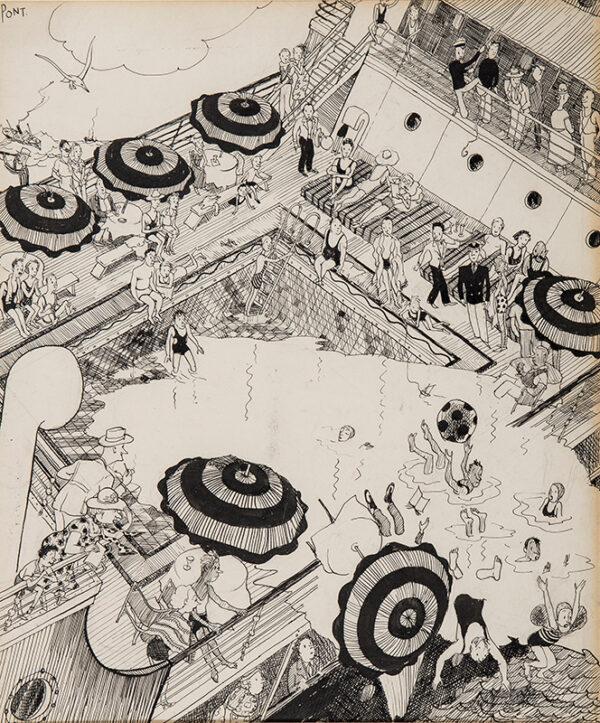 PONT (Graham Laidler) (1908-1940) - 'Pleasure Cruiser Rolling: Scene at the Swimming Pool'.
