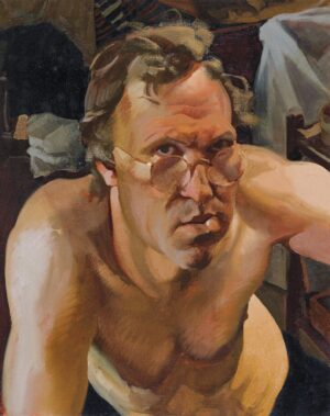 Edward Povey (b.1951) -  'Self-portrait at Forty-Three'.