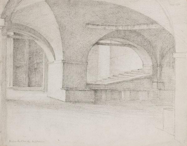 POYNTER Sir Edward P.R.A. (1836-1919) - 'Under the Church, Moltrasio ' (Lake Como) Pencil.