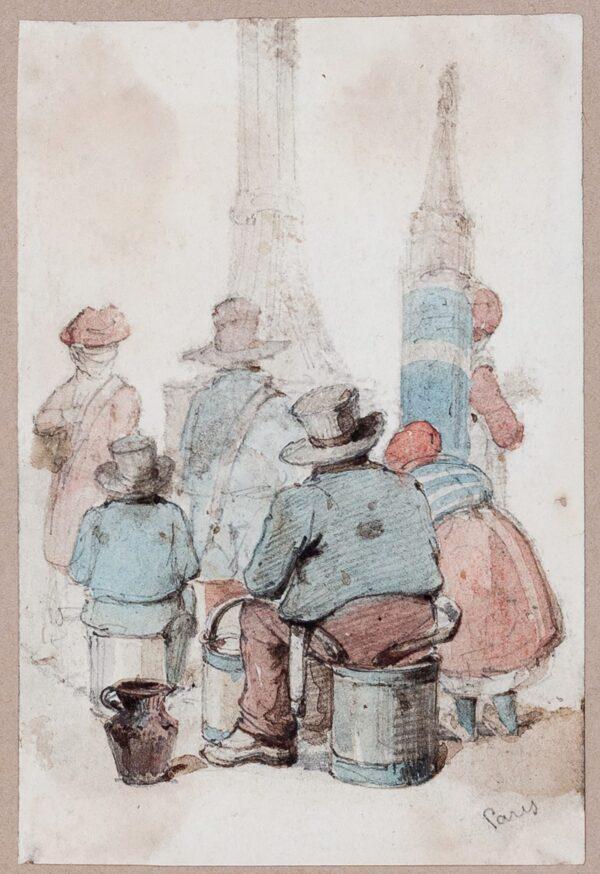 POYNTER Ambrose (1796-1886) - 'Paris': waiting at a fountain.