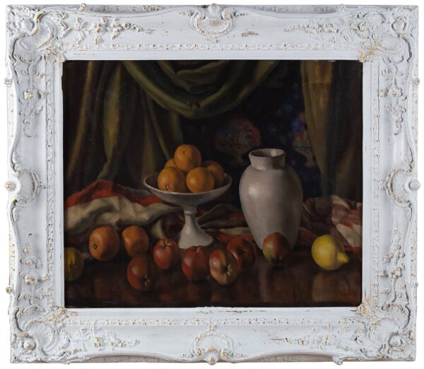 HEPWORTH Dorothy (1898-1978) (a.k.a. 'Patricia Preece') - Still-life stage-set with fruit and pottery.