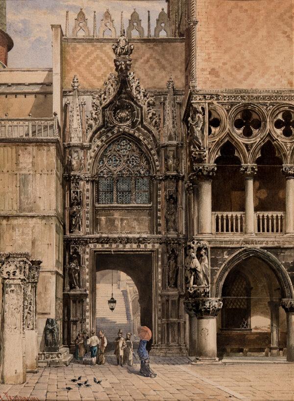 PROSDOCIMI Alberto (1852-1925) - La Porta Della Carta, Palazzo Ducale, Venice.