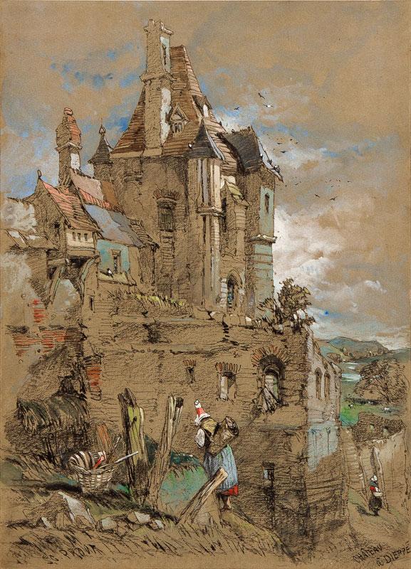 PROUT Samuel Gillespie (1822-1911) - 'Chateau a Dieppe'.