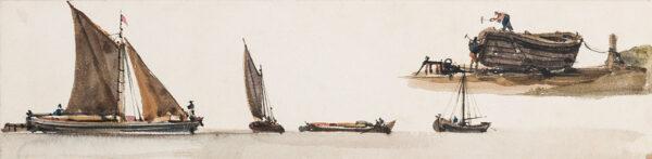 PUGIN Augustus Welby Northmore (1812-1852) - Studies of barges.